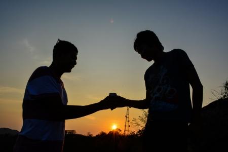 friendship silhouette meeting Stock Photo - 19012231