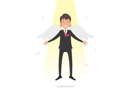 businessman flying with white wings, promotion, symbol of success, vector illustration on white background. Illustration