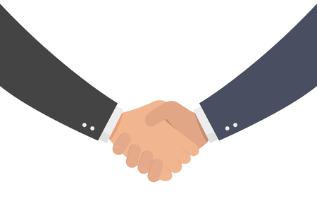 Business handshake, contract agreement, shaking hands, symbol of success deal, successful transaction, Vector illustration flat design style and isolated on white background Illustration