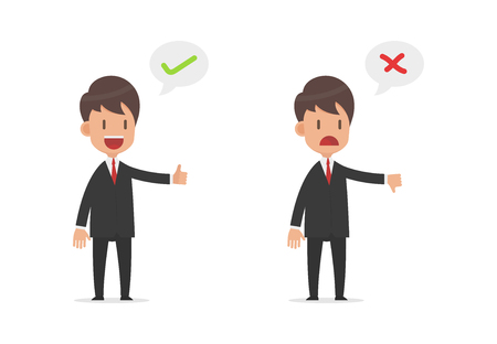 Businessman standing with Right and Wrong Signs on speech bubble and thumb up, thumb down, Vector illustration flat design style and isolated on white background Illustration