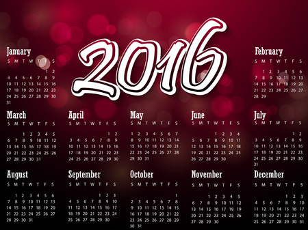 Calendar 2016 year with christmas candle vector