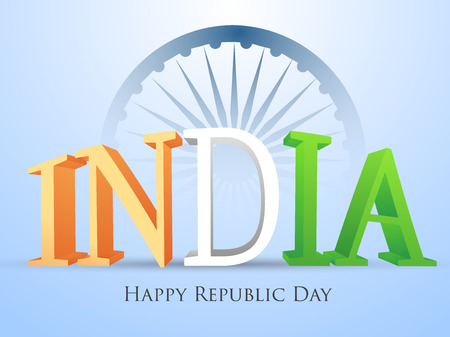 january: Indian Republic day concept with text 26 January.