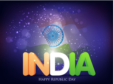 26 january: Indian Republic day concept with text 26 January