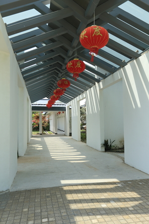 gabled: The chinese building pathway Stock Photo