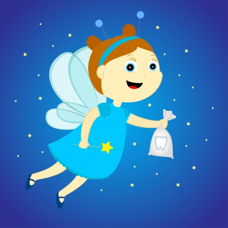 pixy: tooth fairy with a bag in his hands