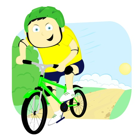 cyclist quickly going on the road Vector