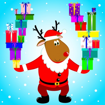 new year s santa claus: deer in the costume of Santa Claus
