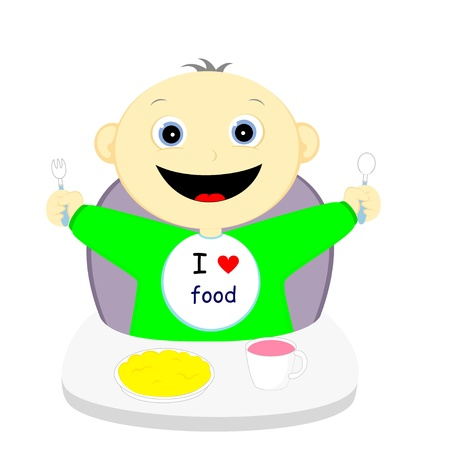 hungry child happy upcoming meal Vector