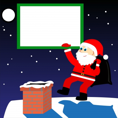season s greeting: santa on the roof of the house with bag full of presents