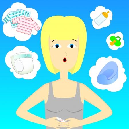 prueba de embarazo: beb� de la mujer adbout pensamiento con la prueba de embarazo