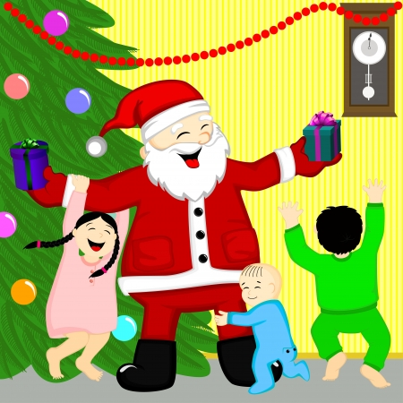 came: Santa came to the children at home Illustration