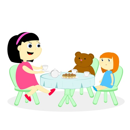 desk toy: the girl has arranged a tea party with a doll and bear Illustration