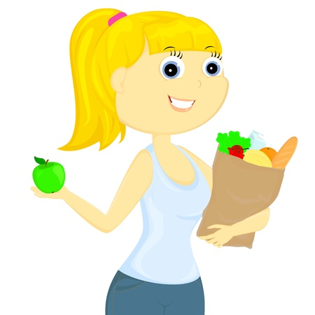 bought: the slender girl bought a healthy and tasty food