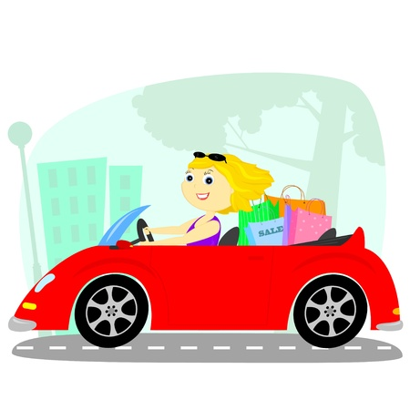 blonde rides on a red cabriolet after shopping Vector