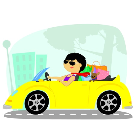 car clothes: a woman with a dog makes shopping on the yellow car