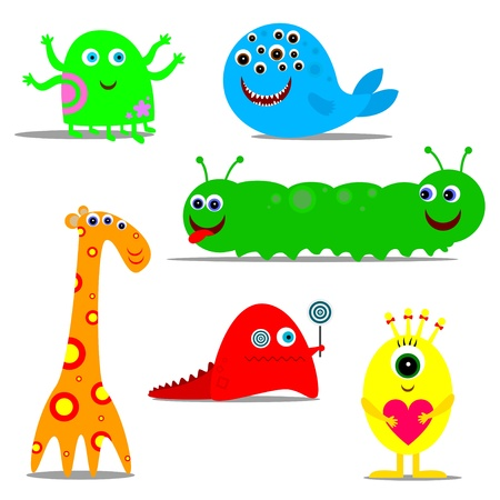 six fun colored monsters