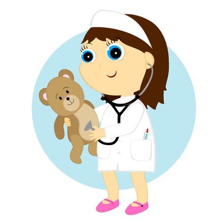 girl stethoscope: a little girl listening to bear through a stethoscope