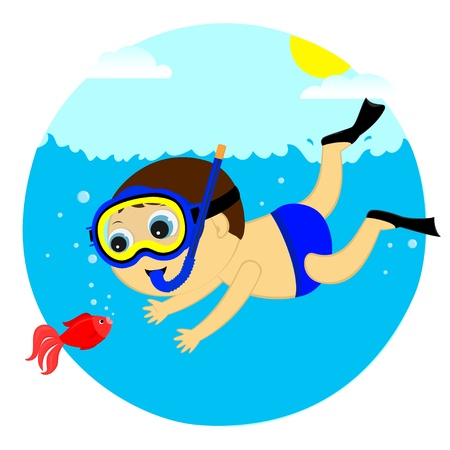 the boy saw the underwater fish Stock Vector - 22150031