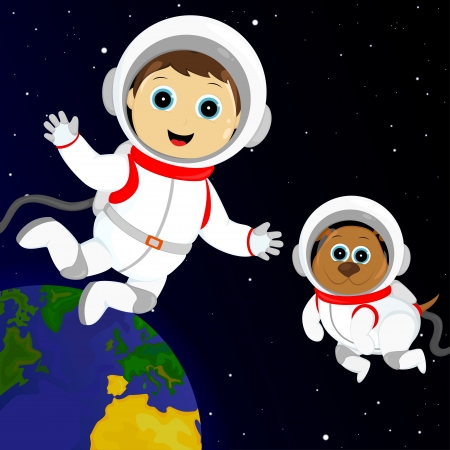 boy and dog in costumes astronaut floating in outer space Vector