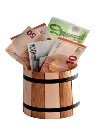 European money.Background of banknotes.Good earnings.Big profit.Money supply.Money in the barrel.Euro banknotes in the bank.A reliable bank.