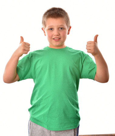 Isolated boy. The boy is fine. A young man in a green T-shirt.
