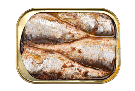 Closed fish isolated on white background.Canned fish.