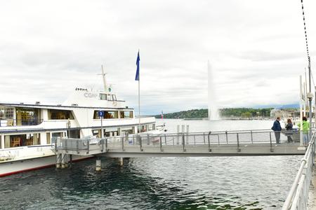 Switzerland Geneva. 1 May 2018. Embankment of the city of Geneva. River transport. Editorial