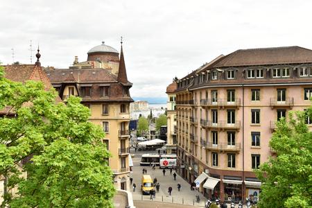 Switzerland Geneva. May 1, 2018. People on the street. Editorial