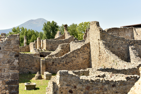 Tourist attractions in Italy. The famous antique site of Pompeii. 版權商用圖片