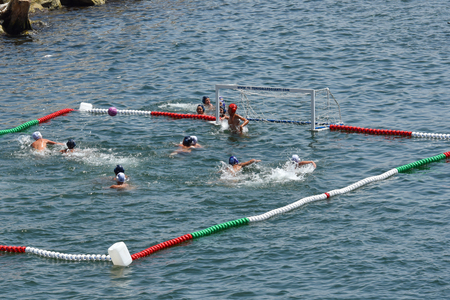 Naples Italy. 02. 07. 2018. Sports competition on the water. Healthy lifestyle.