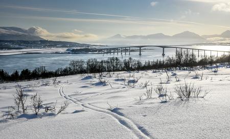 View of Tromsø with Sandnessundbrua ( Kvaløybrua ) from Kvaløya, Norway Reklamní fotografie