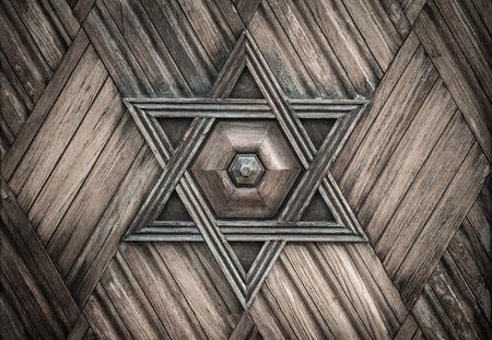 Wooden David star, jewish symbol.