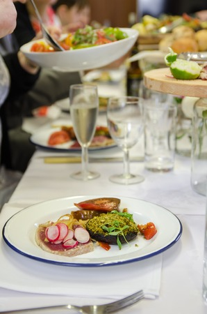 venue: Tuna, mushroom and salad served at the venue Stock Photo