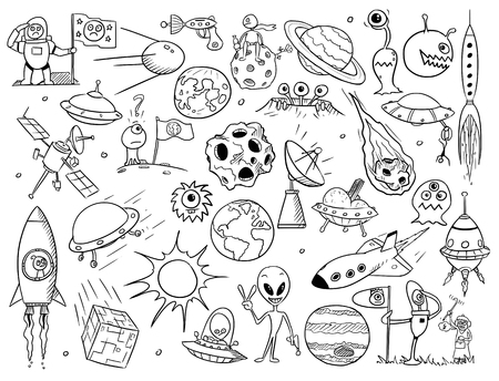space cartoon: Set of cartoon vector doodle alien monsters and space props Illustration