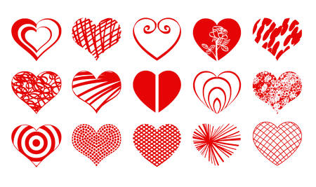 medica: Set02 of vector valentine heart icons drawings doodles in red color