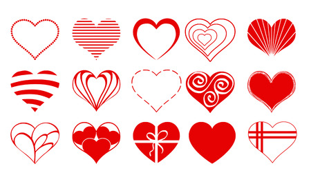 Set02 Of Vector Valentine Heart Icons Drawings Doodles In Red ...