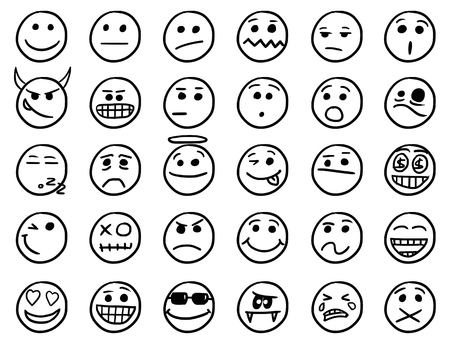 facia: Set01 of smiley icons drawings doodles in black and white