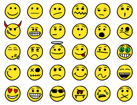 facia: Set01 of smiley icons drawings doodles in yellow color