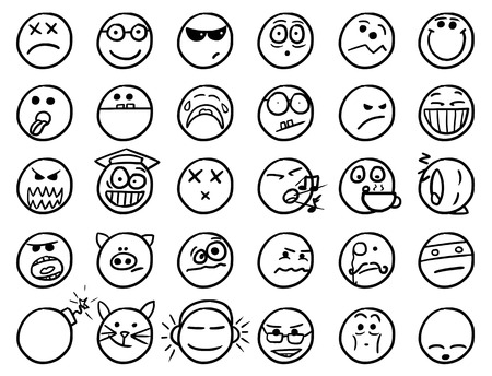 facia: Set02 of smiley icons drawings doodles in black and white