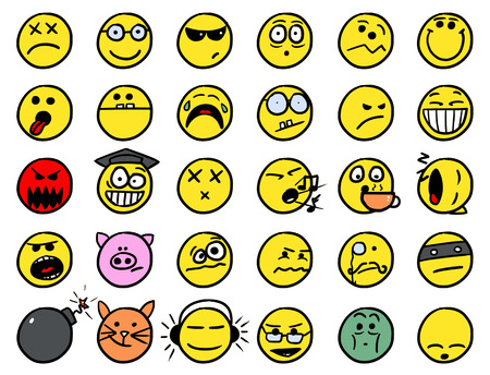 facia: Set02 of smiley icons drawings doodles inyellow color
