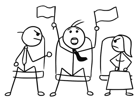 boor: Cartoon vector doodle stickman in theater or cinema with flags waving and two angry viewers Illustration