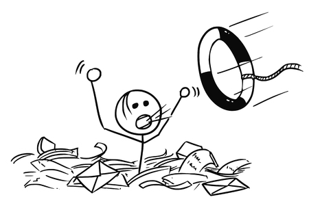 Cartoon vector doodle stickman man drowning in the office paper and life buoy thrown in paper