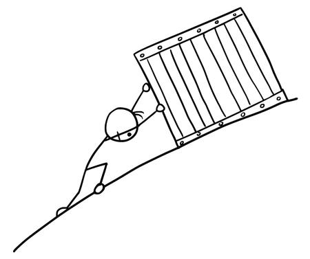hillside: Cartoon vector doodle stickman pushing big box up to slope