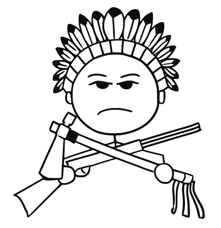 Cartoon vector stickman of native Indian tribal chieftain with rifle and tomahawk. Stock Illustratie