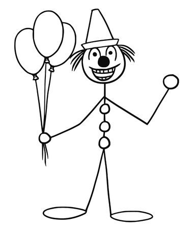 Fumetto vettoriale stickman sorridente party o il buffoon clown del circo con palloncini d'aria e tappo Archivio Fotografico - 72578488