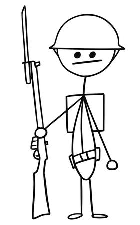 Cartoon vector stickman british world war one soldier with riffle and helmet