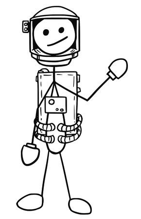 Cartoon vector stickman astronaut in the spacesuit
