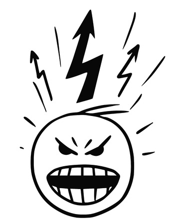 Cartoon vector stickman of head in burst of anger , blow-up, with lightning marks above the head