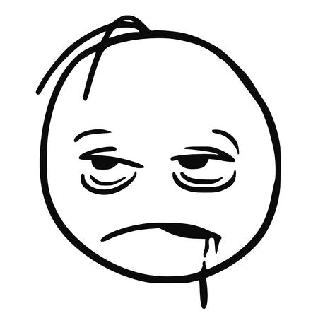 Stickman vettore di cartone animato che è molto stanco, malato, addormentato, ubriaco o annoiato. Con saliva che va dalla bocca. Archivio Fotografico - 72578519