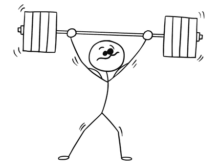 Cartoon vector stickman shaking weightlifter with heavy barbell above his head Illustration